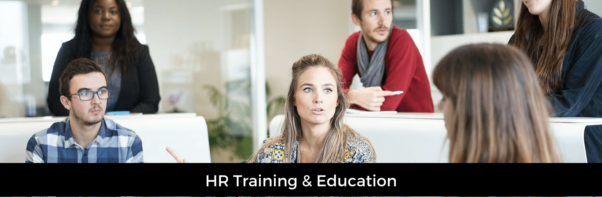 Picture captioned HR Training & Education. Background image of a team meeting or training session
