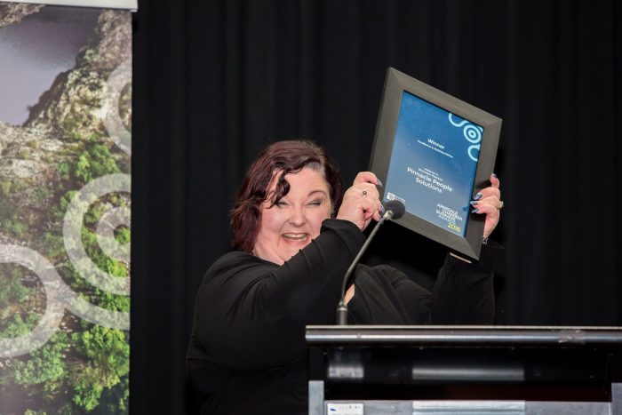 Picture Bronwyn Pearson accepting Armidale Business Chamber 2016 Winners Award